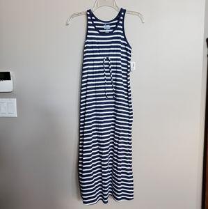 NWT Old Navy girls navy/white stripe maxi dress